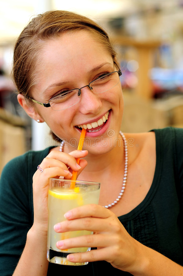 Download Girl Drinking Soda stock photo. Image of hands, happy - 6179582