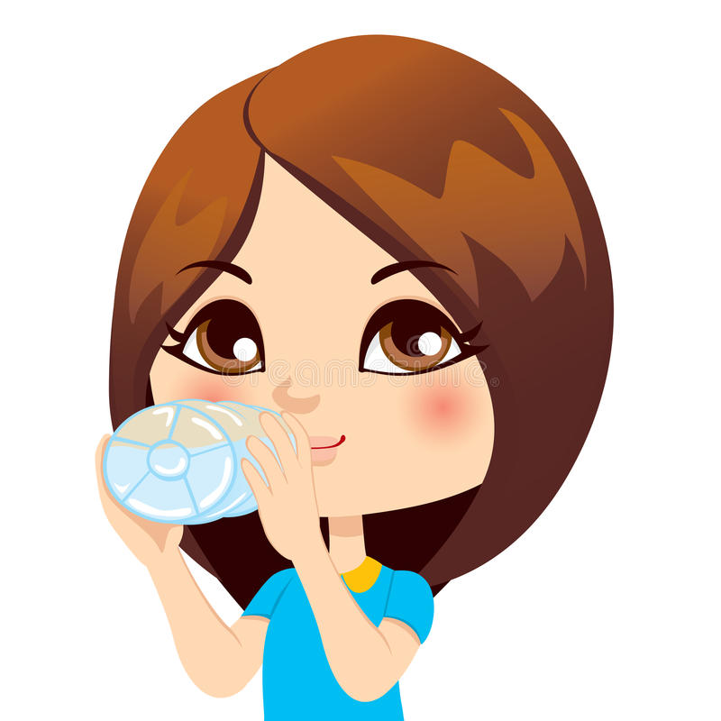 Girl Drinking Water vector illustration
