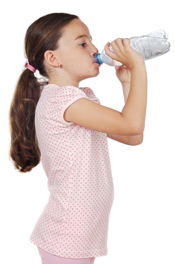 Girl drinking water stock photo