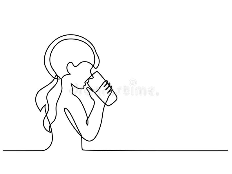 Girl drinking water from glass stock illustration
