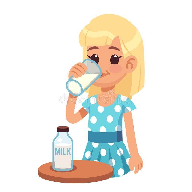 Girl drinks milk. Cartoon happy kid drinking cow milk in glass. Healthy childhood and dairy products vector concept vector illustration