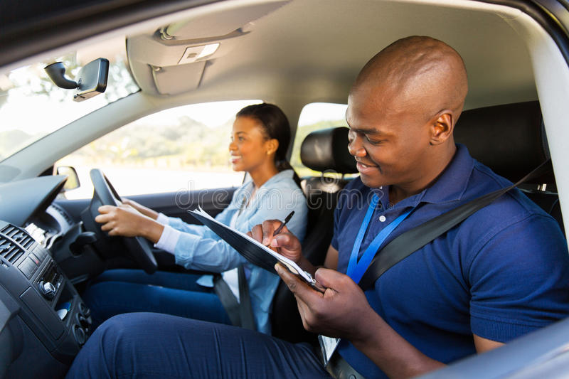 Girl driving test stock images