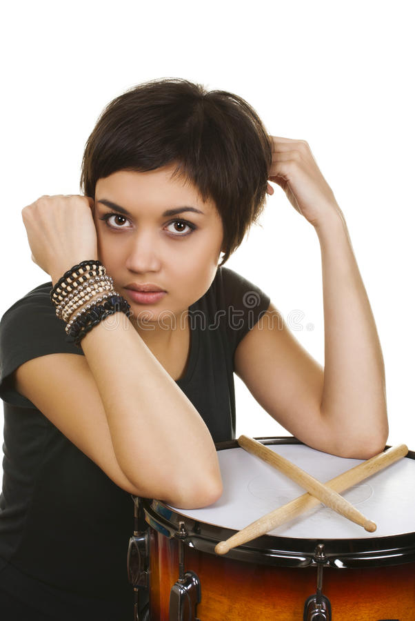 Girl with drum stock photo