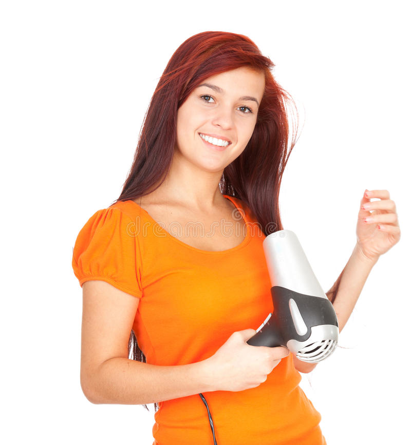 Download Girl Drying Her Hair By Dryer Stock Photo - Image: 21964592