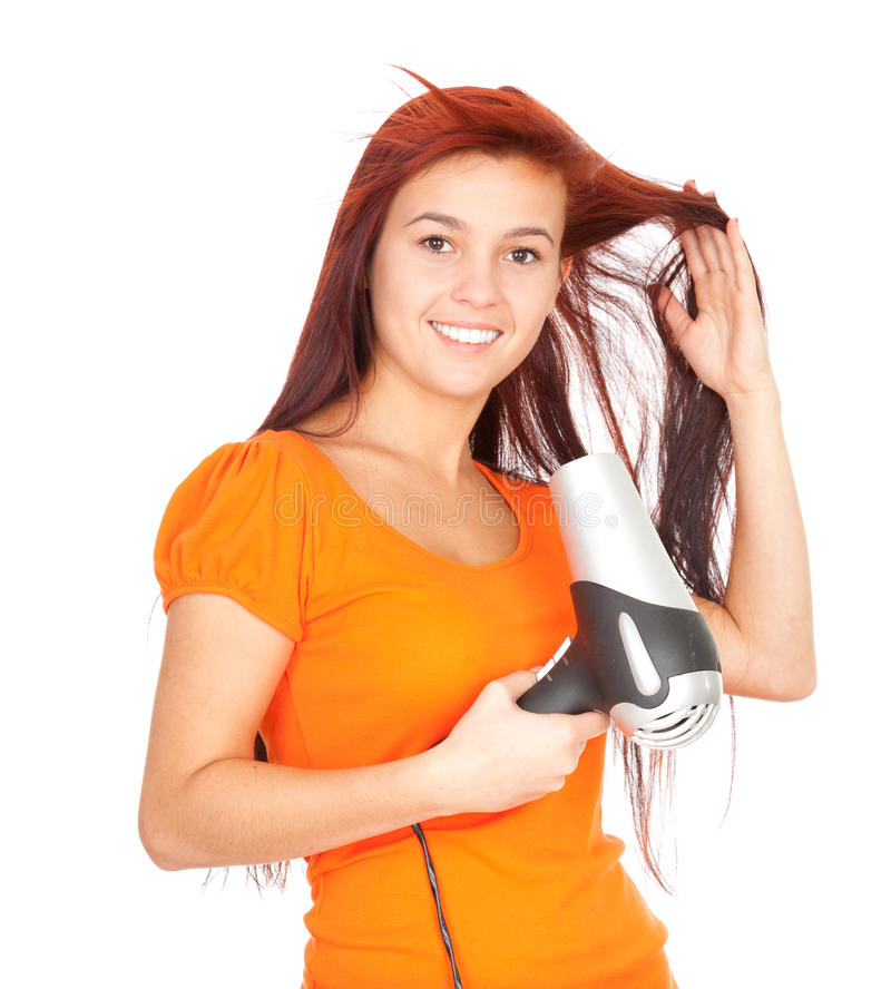 Download Girl Drying Her Hair By Dryer Stock Photos - Image: 21964613