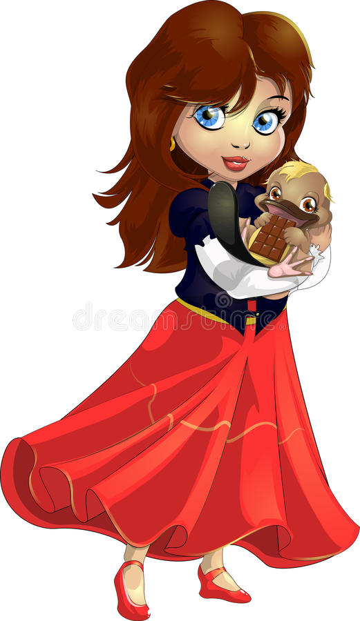 Girl and duck-bill. The girl gently holds on hands of a duck-bill royalty free illustration