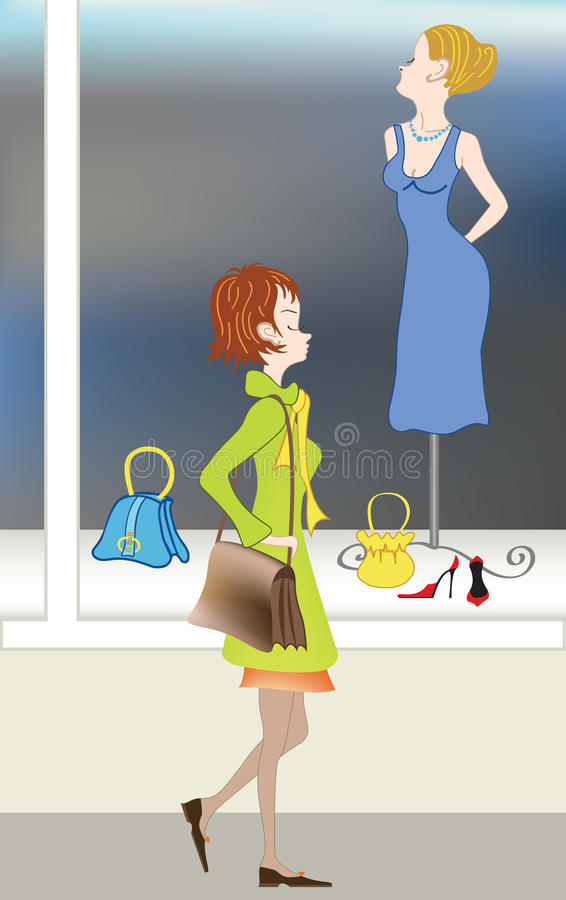 Girl and dummy. Young girl is going by show-window of a shop; the dummy inside is very jealous vector illustration