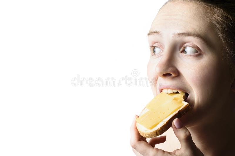 Girl eagerly eats a sandwich with cheese and butter. Close-up. Isolate on white background. Copy space.  royalty free stock image