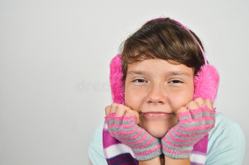 Download Girl With Ear Muffs And Trimmed Gloves Stock Image - Image of floor, black: 26914101