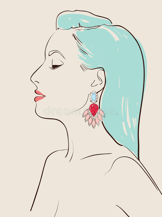 Download Girl with earring stock vector. Image of brilliant, colors - 27592570