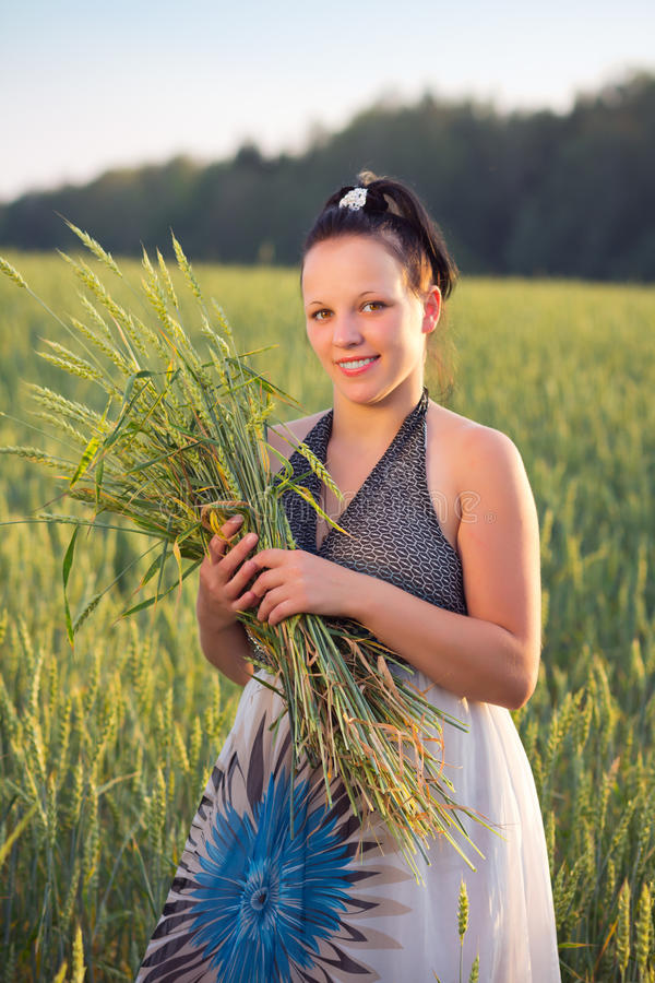 Download Girl with ears stock image. Image of meadow, cereals - 26457011