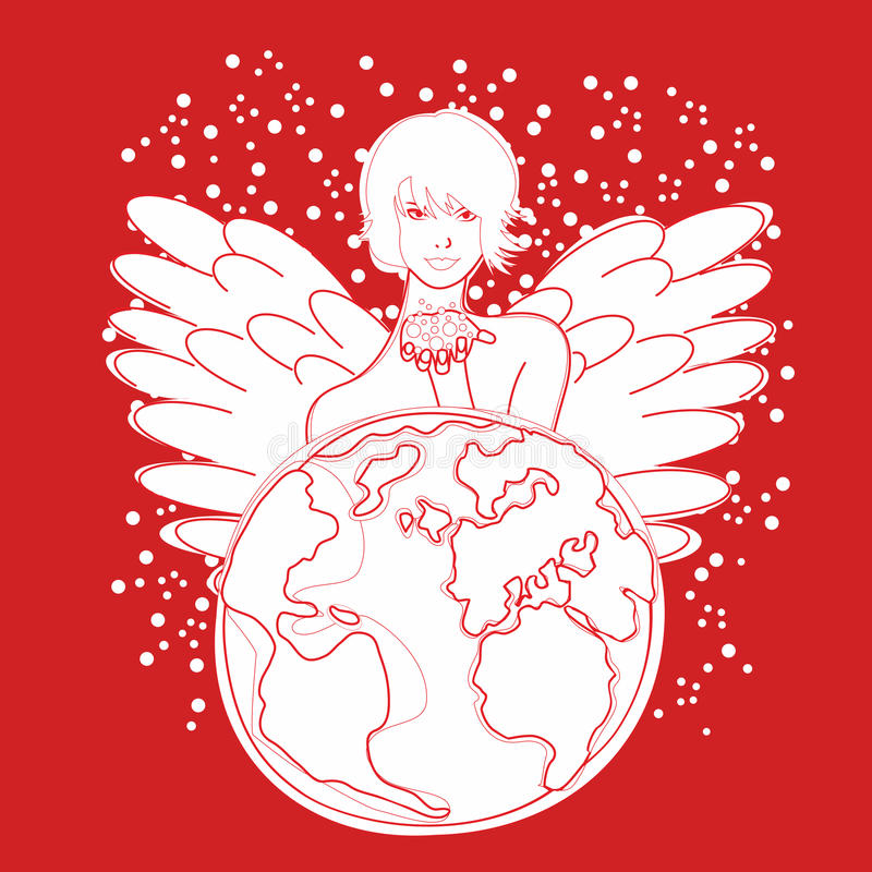 Girl earth vector illustration