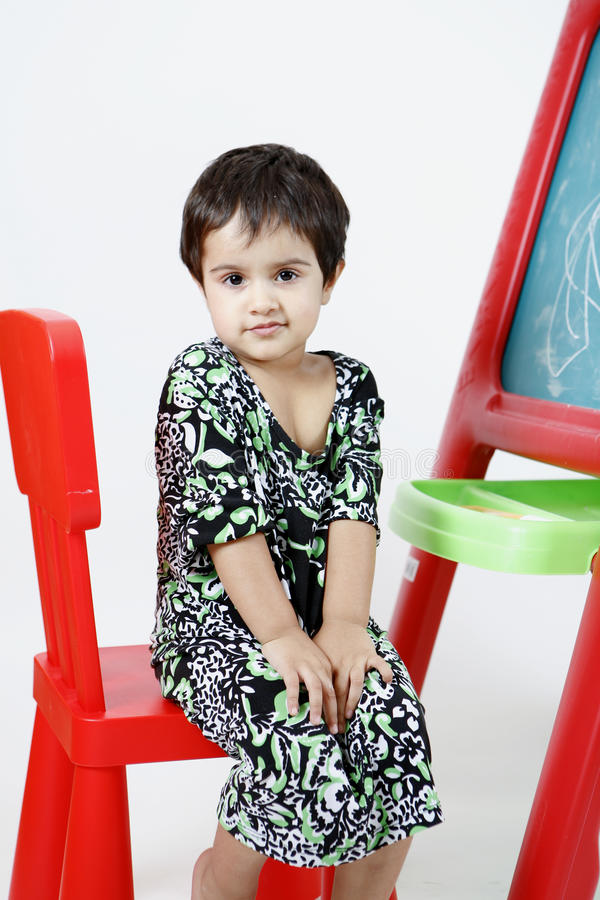 Download Girl on easel stock photo. Image of messy, girl, paint - 11614384