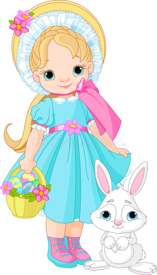 Girl with Easter rabbit vector illustration