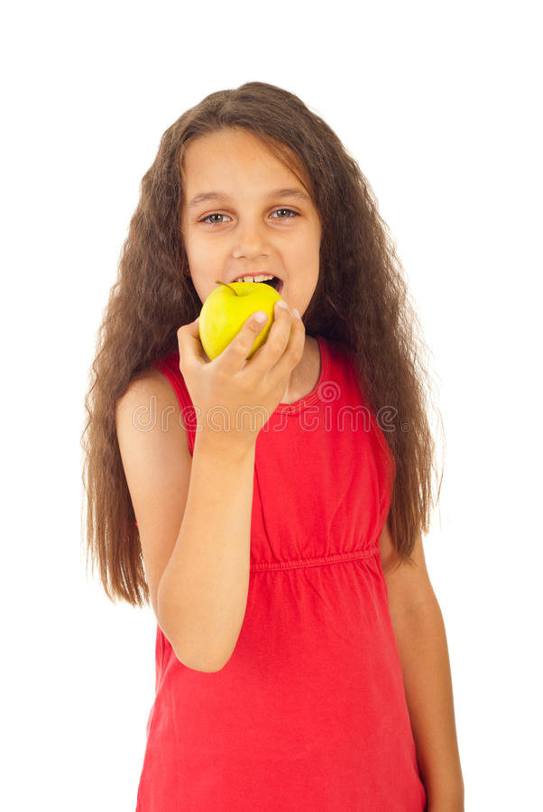 Girl eating apple