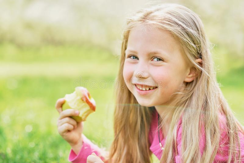 Girl eating Apple. Child eating healthy fruit. Little girl portrait eating red apple outdoor. Child eating healthy fruit food happy young lifestyle smile royalty free stock image