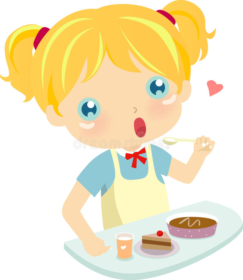Download Girl eating Cake stock vector. Image of birthday, child - 10813198
