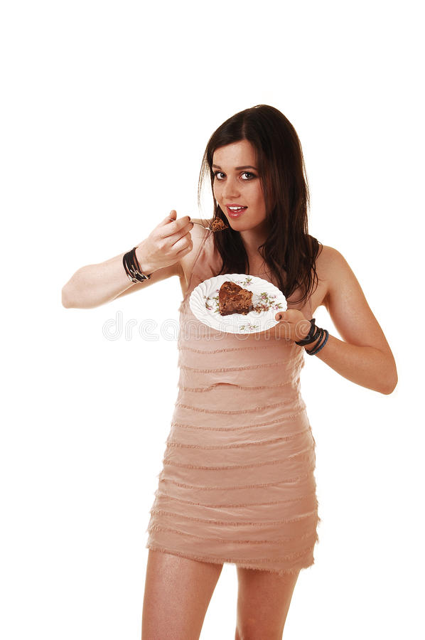 Download Girl eating cake. stock photo. Image of chocolate, looking - 25487226