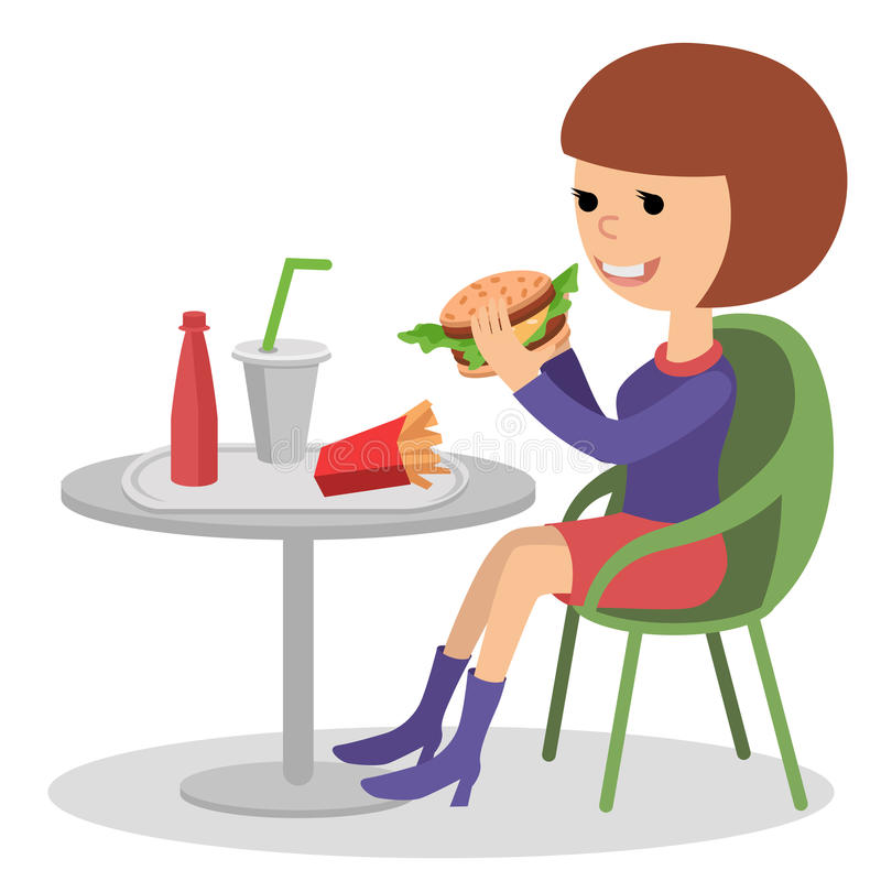Download Girl Eating Fast Food. Vector Illustration Of A People With Sandwich. Stock Vector - Image: 83707965
