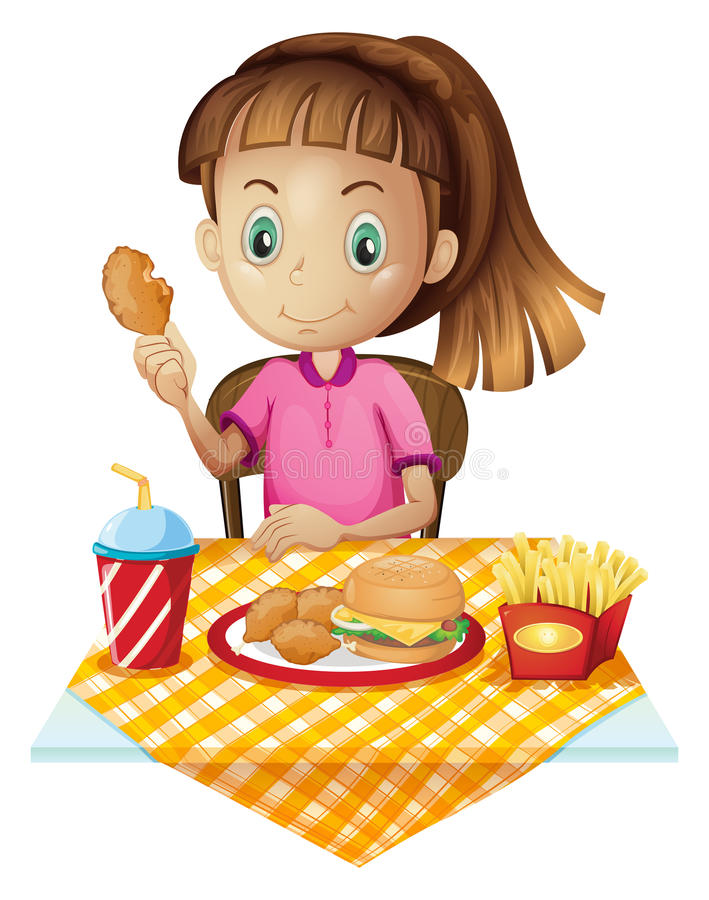 A girl eating at the fastfood store. Illustration of a girl eating at the fastfood store on a white background vector illustration