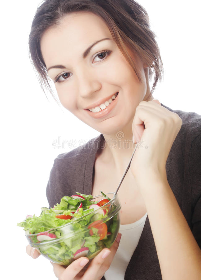 girl eating healthy food stock images