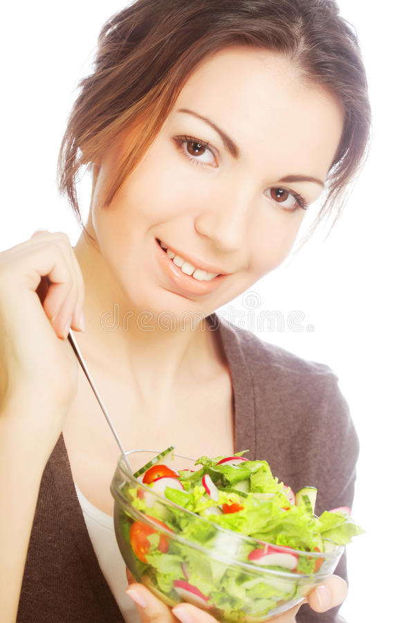 Girl eating healthy food royalty free stock photo