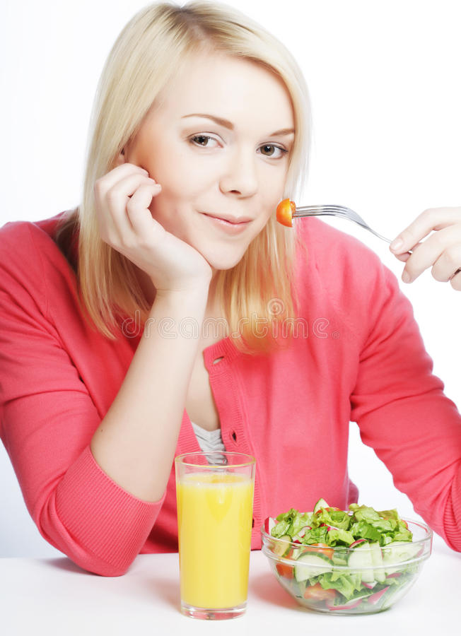 girl eating healthy food royalty free stock image