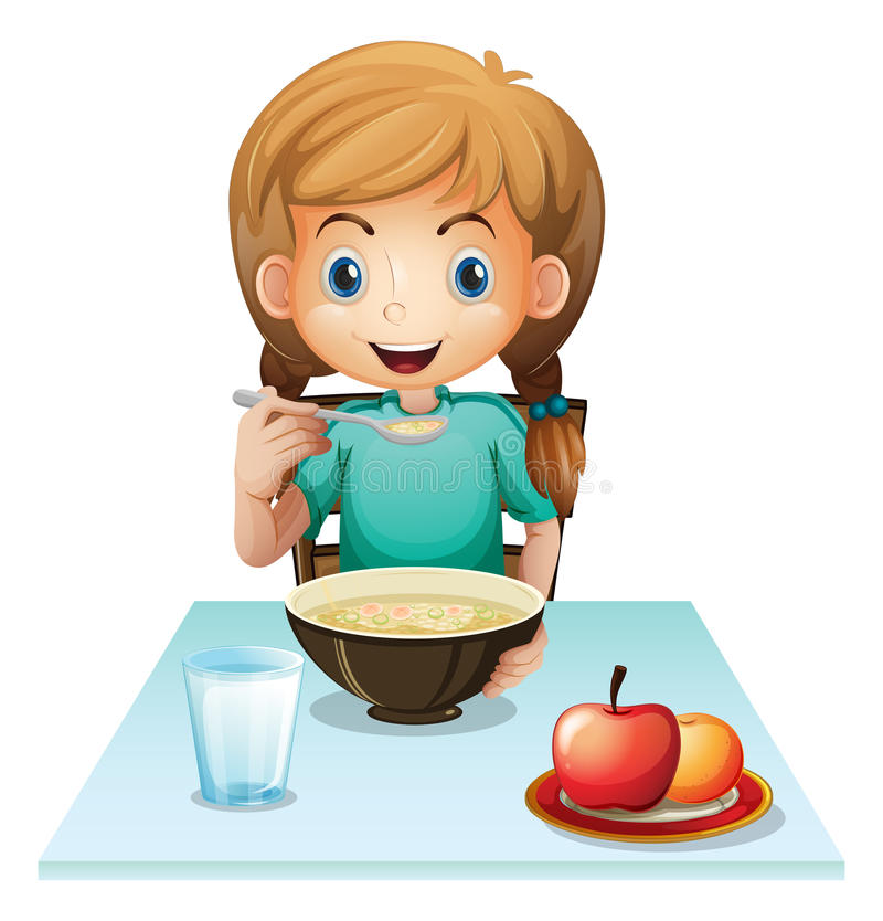 A girl eating her breakfast. Illustration of a girl eating her breakfast on a white background stock illustration
