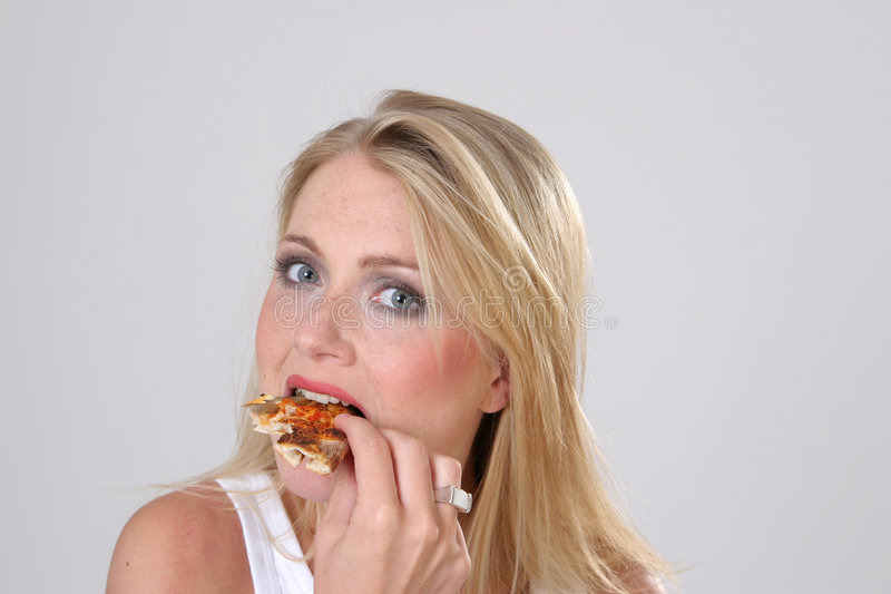 Download Girl eating Pizza stock photo. Image of olive, hair, italian - 1521194