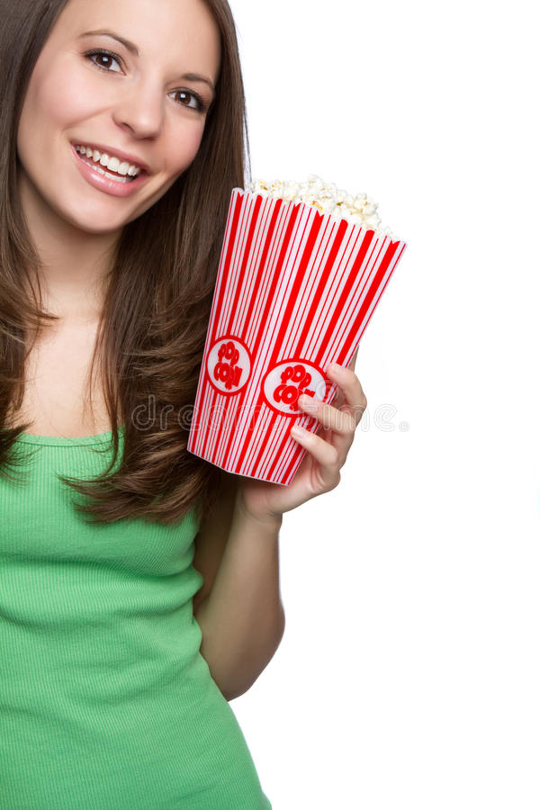 Download Girl Eating Popcorn stock image. Image of girls, happy - 18022423