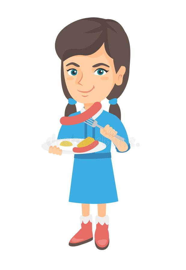 Girl eating sausage and fried egg for breakfast. Little caucasian girl eating sausage and fried egg for breakfast. Young smiling girl holding fork and plate stock illustration