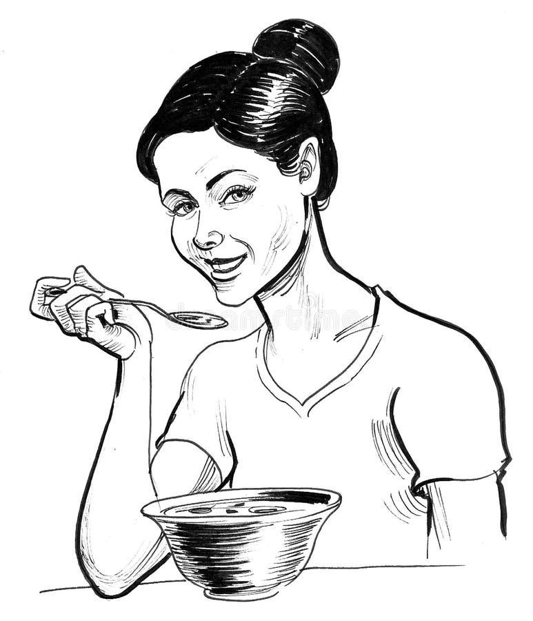 Girl eating soup royalty free illustration