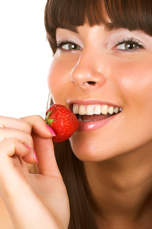 Download Girl eating strawberry stock image. Image of barefaced - 5133001