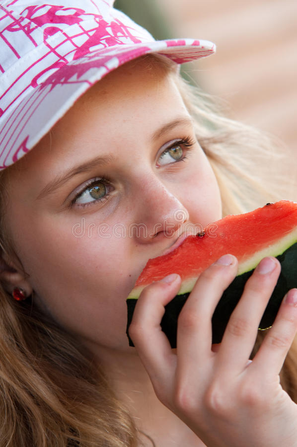 Download Girl eating watermelon stock image. Image of summer, watermelon - 24741719