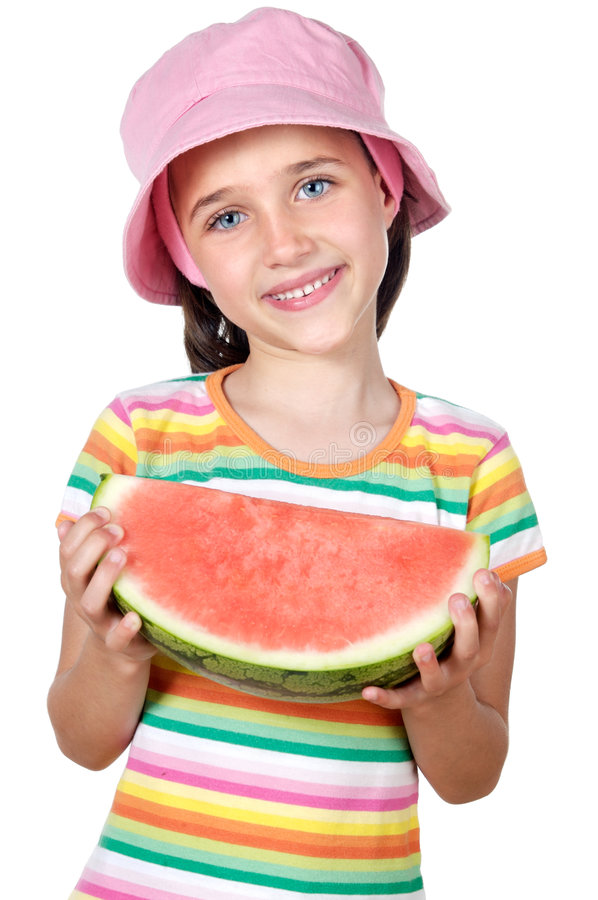 Girl eating watermelon. Adorable girl eating watermelon a over white background stock photos