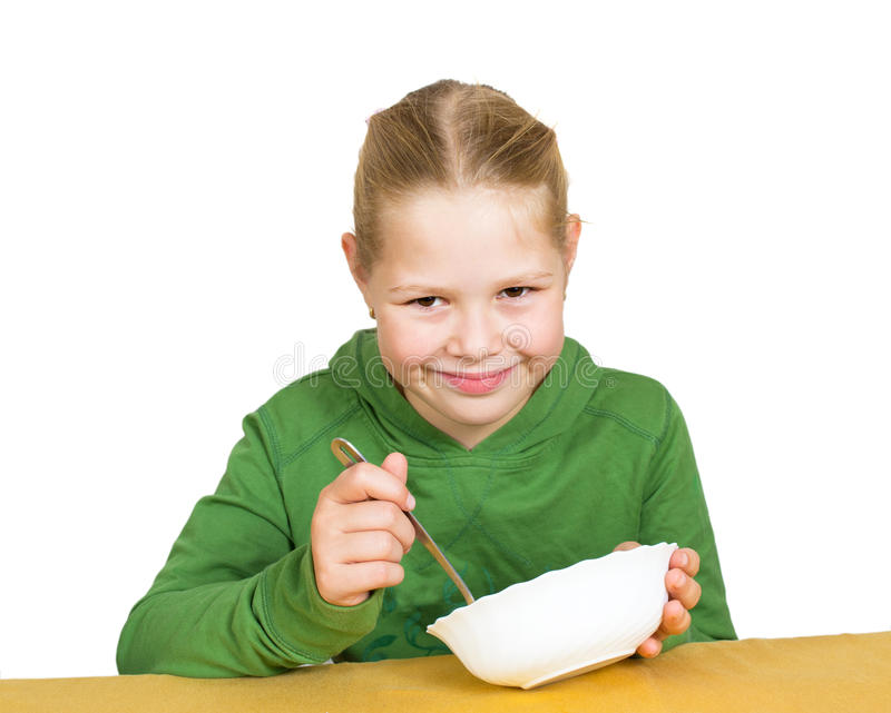 Girl Eats Isolated Stock Images