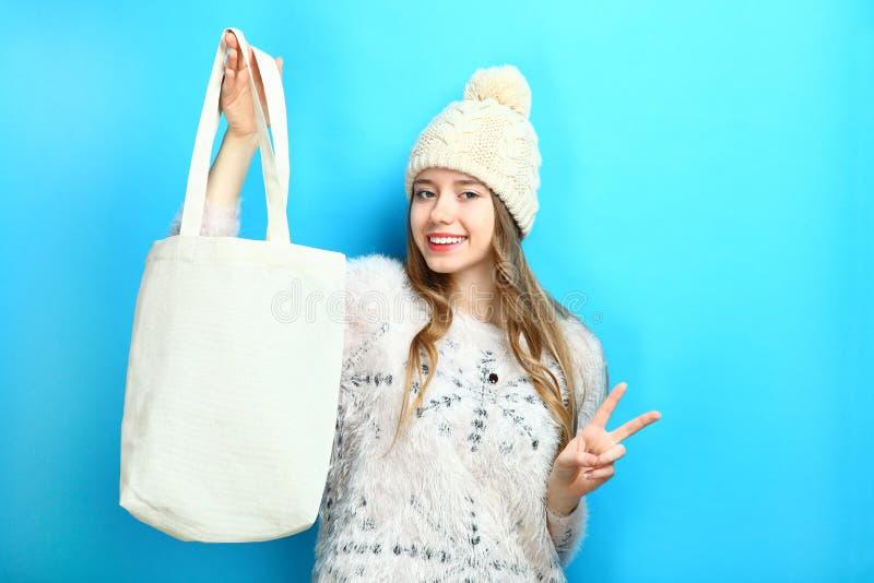 Girl with eco bag stock photos