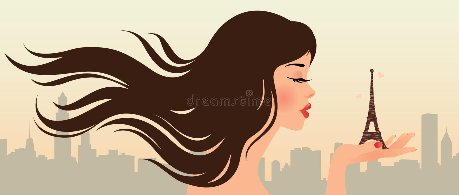 Download Girl and the Eiffel Tower stock vector. Illustration of horizontal - 26380852