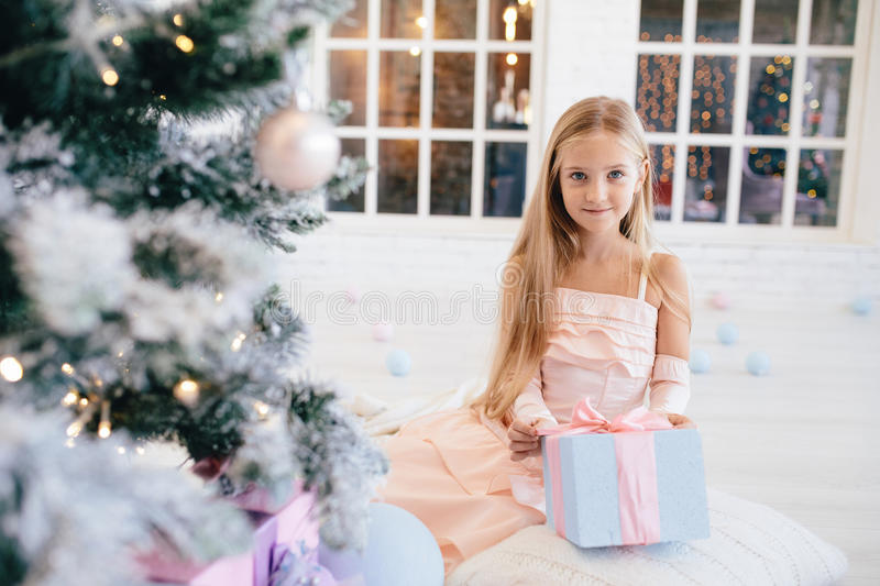 Girl in an elegant pink dress holding gift box near Christmas tree stock photos