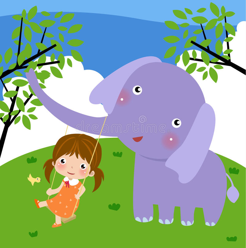The girl and the elephant stock illustration