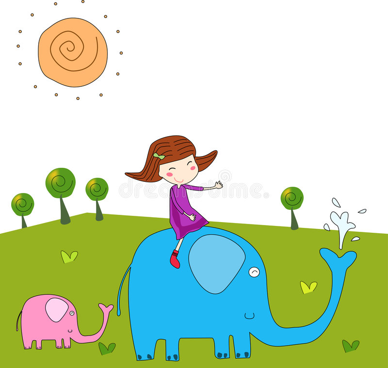 The girl and the elephant. Vector illustration
