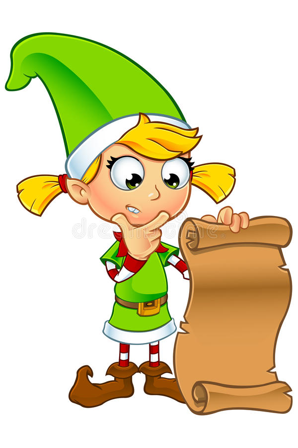 Girl Elf Character In Green royalty free illustration