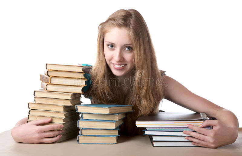 Download The Girl Embraces A Pile Of Books Stock Image - Image: 19046421