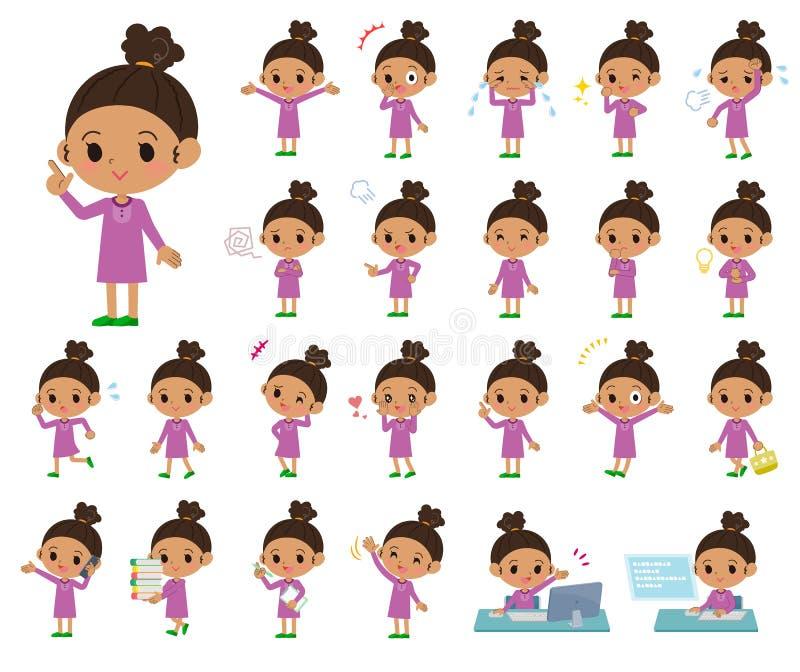 Girl_emotion del pelo de la ondulación permanente stock de ilustración