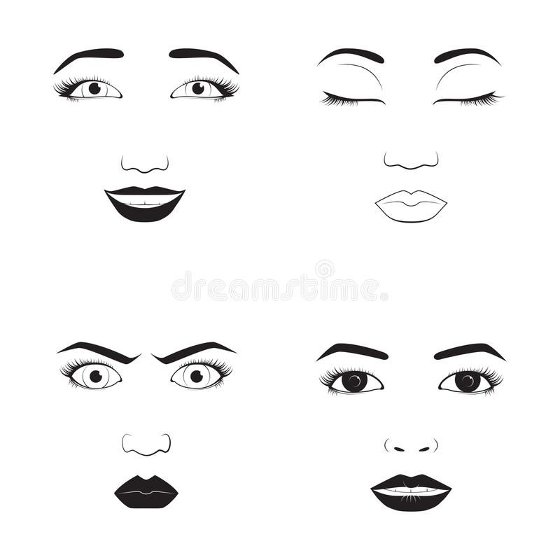 Girl emotion face cartoon vector illustration and woman emoji icon cute symbol character human expression sign female stock illustration