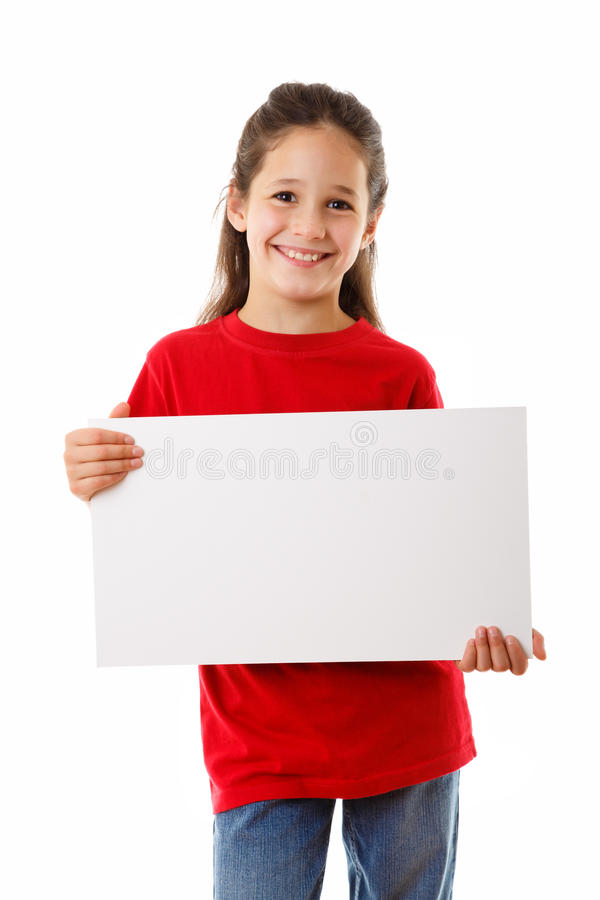 Girl with empty blank