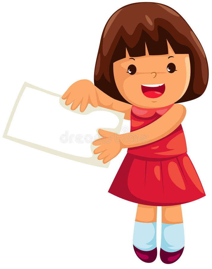 Girl with empty label. Illustration of isolated girl with empty label on white royalty free illustration