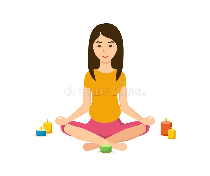 Girl is engaged in the lotus position in yoga, meditation. The girl is engaged in the lotus position in yoga and meditation, in a quiet cozy atmosphere, with stock illustration