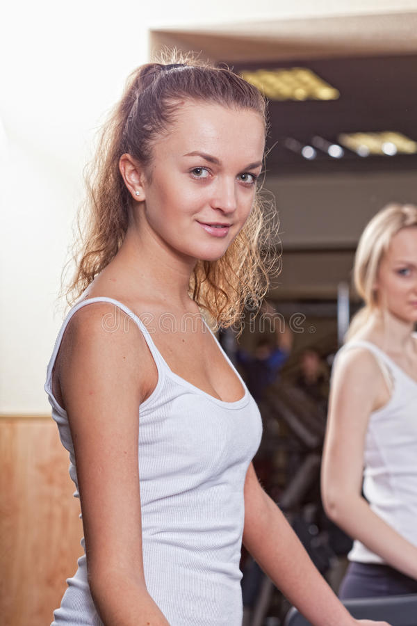 Download Girl Is Engaged In A Sports Hall Stock Image - Image: 25096633