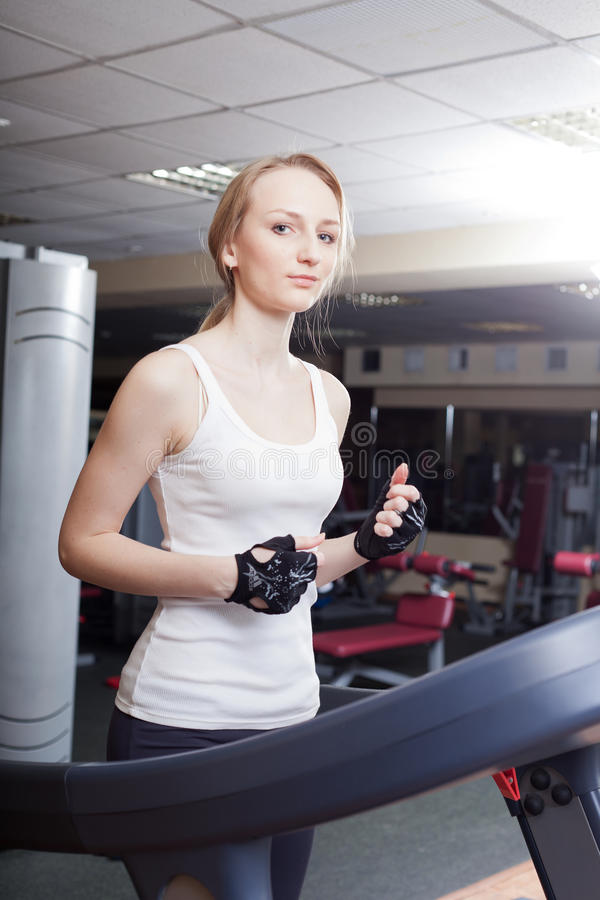 Download Girl Is Engaged In A Sports Hall Stock Image - Image: 25096649